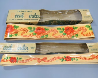 Vintage Meyercord Decal Border & Shelf Edging FOUR 12 Foot Packages Red Roses Gingham Ribbon Borders