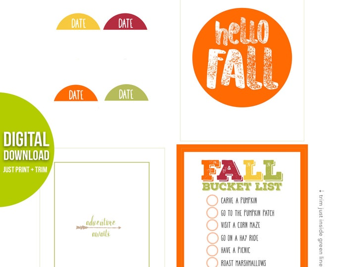 Featured listing image: Hello Fall, Pocket Cards, Project Life, Fall Bucket List, Fall Journaling Cards, Digital Journal Cards, Adventure Awaits, Planner Supplies