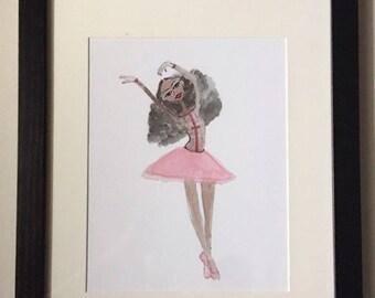 Elisa's Ballet Solo - Black Ballerina Art, Girl Wall Art, Afro Art, Ballerina Wall Art, Fashion Illustration, Dancer Art by LeMahogany Art