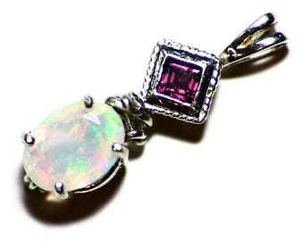 Rhodolite Garnet and Ethiopian Opal Pendant in Sterling Silver, Multi Stone Jewelry, Rainbow Opal Christmas Present, Garnet Opal Birthstone