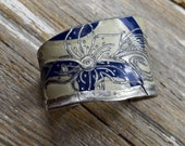 Vintage License Plate Cuff Hand Engraved With Mehndi Desgins : Perfect Retro Blue and White Cuff