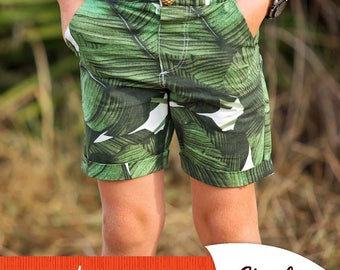 Port Shorts PDF Sewing Pattern ( slim fit woven shorts for boys and girls intermediate )