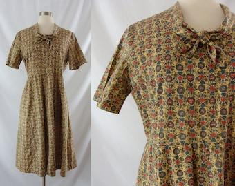 Vintage 40s / 50s Dress - Forties Fifties Cotton Print Dress - XL 40's / 50s Day Dress