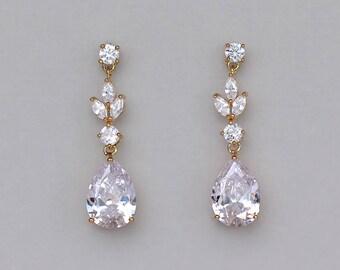 Gold Bridal Earrings, Gold Wedding Earrings, Teardrop Earrings, Crystal Bridal Earrings, ASHLEY GC