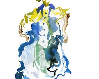 "Original Watercolor, Figure Painting, Abstract Art, Fashion Illustration, 6"" x 6"" - 139"