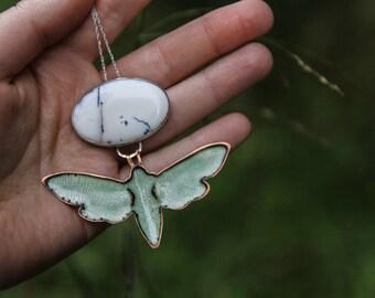 enamel necklace, enamelled necklace, dendritic opal necklace, dendritic opal pendant, necklace dendritic opal,necklace enamel,enamel pendant