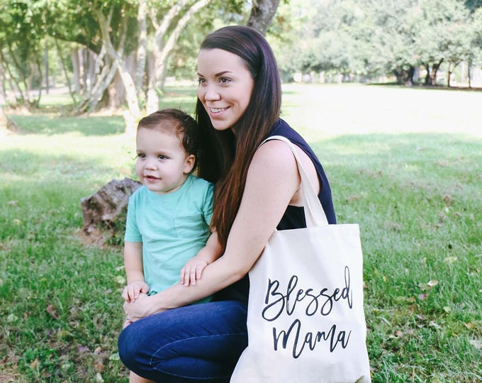 "Featured listing image: The ""Blessed Mama"" Tote Bag"