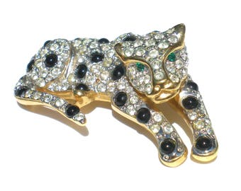 Rhinestone Jaguar Cat Brooch with Pave Style Rhinestones and Black Spots Green Eyes on Gold Tone - Vintage Jewelry Figural Jungle Cat
