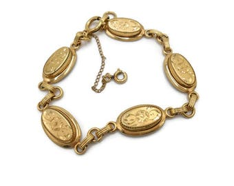 12k Gold Fill Bracelet By Atlas Floral Oval Gold Links with Safety Chain Signed Vintage Jewelry