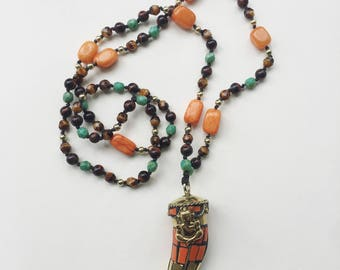 Mosaic Tibetan Coral and Brass GANESHA Hand Knotted Necklace