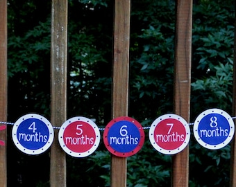Nautical First Year Photo Banner READY TO SHiP Sailboat Banner NAVY & Red Sail Away Photo Banner Ahoy First Birthday Decoration Boy Birthday