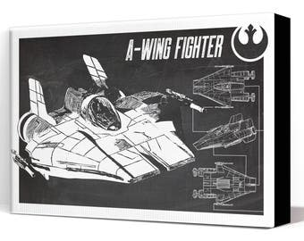 Star Wars Canvas - A-Wing Starfighter - Canvas Art Print, Star Wars Art, Star Wars Patent Art, Fan Art, Star Wars Gift, Industrial decor