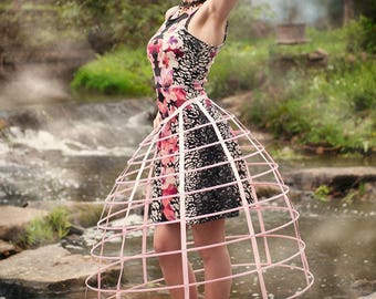 Pink color hoop cage skirt pannier 8 rows plastic boned crinoline 31 inches long
