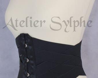 Waist cincher underbust corset in black stretch elastic ribbons Totaly closed waist size is 68 cm (27 inches)
