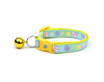 Easter Cat Collar - Patterned Easter Eggs on Blue - Kitten or Large Size