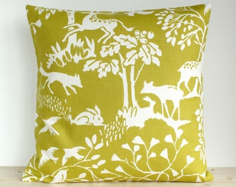 Decorative Pillow Cover, Chartreuse Pillow Sham, Cushion Cover, Cotton Pillowcase, Couch Pillows, Sofa Pillow - Glade Chartreuse