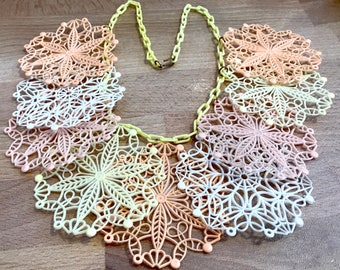 Vintage soft early plastic celluloid filigree snow flakes necklace