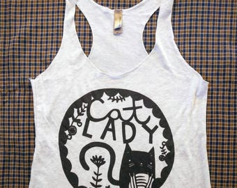 Cat Lady Tank (Heather White Triblend)