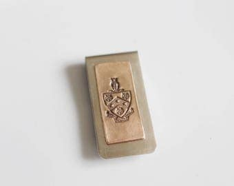 FIJI Fraternity Crest Money Clip / Phi Gamma Delta Money Clip/ Bronze Money Clip  FIJI Crest  PGD Crest / Greek Licensed Money Clip