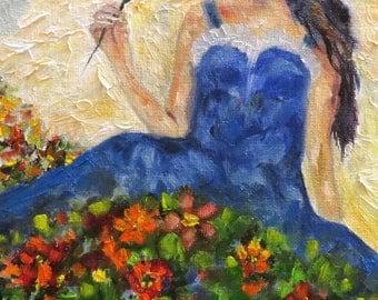 Angel flowers cherub heaven spirit CANVAS PRINT of original art  by Sandra Cutrer Fine Art