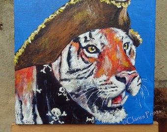 Pirate Tiger Steampunk Art Original Art Acrylic Painting on Canvas OOAK