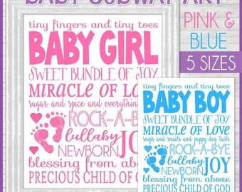 BABY Subway Art BUNDLE, Baby Girl Subway Art, Baby Boy Subway Art, Centerpiece, Nursery Decor - Printable Instant Download