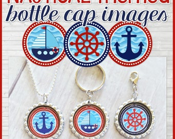 NAUTICAL Bottle Cap Images, Anchor, Sailboat, Ship Wheel, Inchie, Collage Sheet -Printable Instant Download