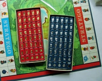 Vintage Stratego Game Pieces All 80 Red Gold Blue Silver 1960s Capture Flag Military Spy Strategy Game Milton Bradley Crafts Art Supplies