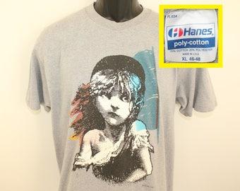 Les Miserables Cosette vintage t-shirt L gray 80s Hanes poly cotton musical Victor Hugo