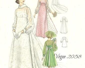 Vogue 2058 Bridal Design High Waist Gown Wedding Bridesmaid Dress Size 10 Bust 33 Unused FF