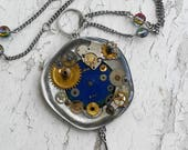 Steampunk Gears Mood Color change Pendant Jewelry Necklace