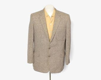 Vintage 50s 2-Tone Men's Blazer / 1950s Brown & Tan Lightweight Wool Jacket M 40