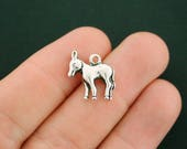 6 Donkey Charms Antique Silver Tone 2 Sided - SC4781