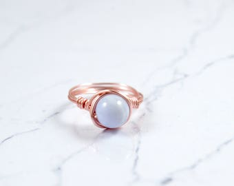 Natural Blue Lace Agate Gemstone Ring, Blue Lace Agate Ring, Sterling Silver Ring, Agate Ring, Birthstone Ring, Raw Crystal Ring
