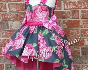 Bohemian Rose Hi Lo dress RTS 4T