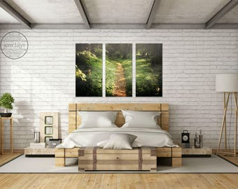 large forest wall art - large canvas wall art - triptych wall art   - large canvas prints - woodland wall art