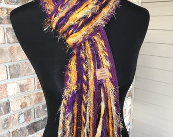 LSU Scarf Tigers Inspired Skinny Scrappy - Plum and Gold - Handmade