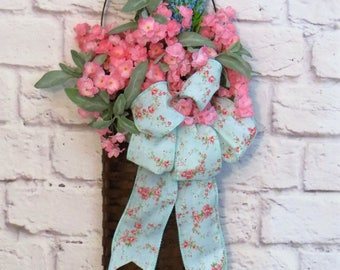 Spring Door Basket,  Spring Wreath, Spring Wall Basket, Spring Decor, Small Wreath, Mothers Day Gift