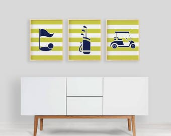 Golf Art Prints , Golf Nursery Art Kid's Wall Decor , Navy Lime Green Nursery Sports Art Print , Large Golf Wall Art Navy Boy Sports Art