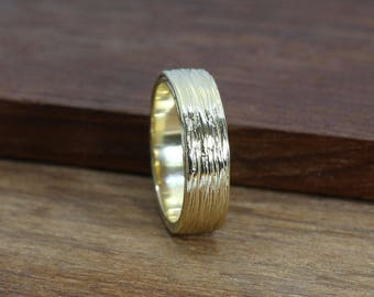 Mens wedding band, wide wedding band, unique wedding band, 6 mm wedding ring, bark ring, wood ring, rough band, gold wedding band, 18k band
