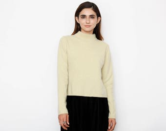 Pale Yellow Cashmere Turtle Neck