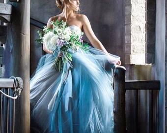 Blue Wedding Dress, Tulle Skirt, Train, TULA, Black, Grey, White, Blue Any Color