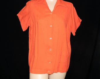 Vintage ladies 50's 60's tangerine orange bowling shirt rayon cotton pin up bombshell rockabillyAngel Town - L / XL