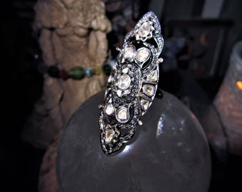 ABSOLUTELY STUNNING!!! - HUGE Old Antique Victorian Diamond Encrusted Knuckle Shield Armor Ring - Natural Old Cut Diamonds - Destiny, Love