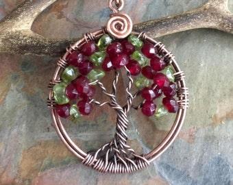 Tree of Life Necklace,Garnet/Peridot Tree of Life Necklace,Valentine Gift,Wired Tree of Life Pendant,January/ August Birthstone Tree life