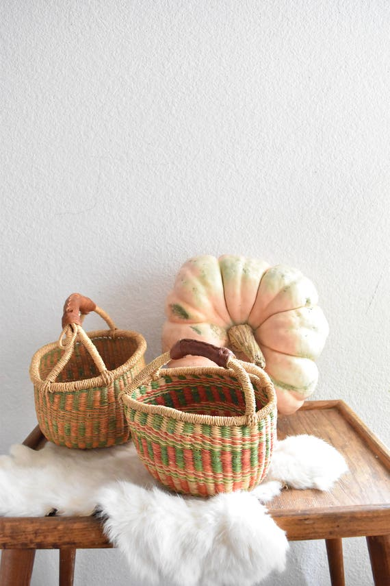woven tribal african market baskets with leather handles