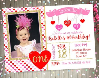 Sweet Valentine 1st Birthday invitation invite Pink and Red Valentine's Day Party Printable Photo Picture Valentines Day Birthday