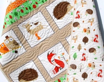 Forest Baby Quilt, Gender Neutral Quilt, Boy or Girl Baby Bedding, Nursery Blanket, Toddler Forest Fellows, Fox Deer Hedgehog Owls Tan Brown