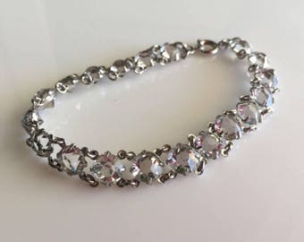 Crystal Bracelet, Art Deco, Clear Glass Beads, Bezel set Bracelet, Prom, Bridal, Rhodium silver,Vintage Jewelry