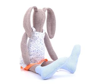 Girl gift , Plush stuffed rabbit , soft doll , handmade bunny , Rag Doll , brown doll , Plushie Softie , Art Doll , Girl Room Decor